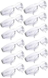 Golden Scute Clear Safety Glasses Eyewear Protective Safety Goggle Polycarbonate Impact Resistant Lens, UV Blocking-12pairs / Box