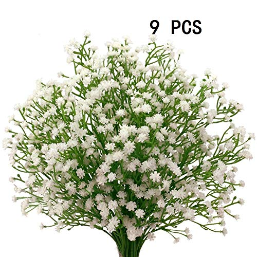Houda - 9 unidades de flores artificiales de paniculata («Gypsophila»), plantas, ramos de boda, manualidades caseras, decoración