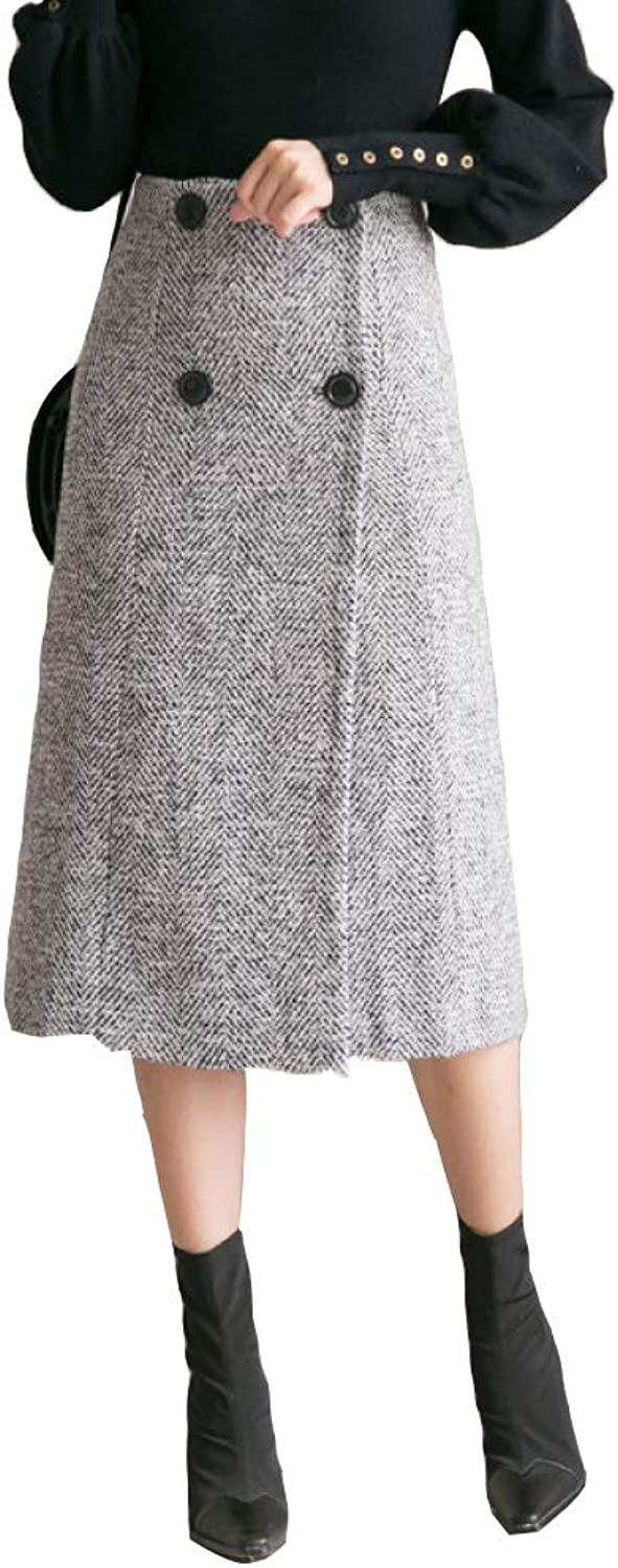 QJKai Skirt Autumn and Winter Solid color DoubleBreasted Long Dress Female Skirt was Thin Woolen a Skirt