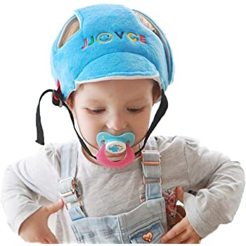 Photinus ベビー安全ヘルメット 赤ちゃん ヘッドガード プロテクター 頭 守る スポンジ 綿100% 超軽量 衝撃吸収 サイズ調整可能 (ブルー)