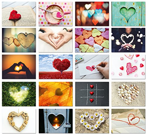 Hochzeit Postkarten Set / 20 Postkarten mit Herz Motiv/Postkarten Set Liebe für Hochzeitsspiel/Love Cards/von Sophies Kartenwelt