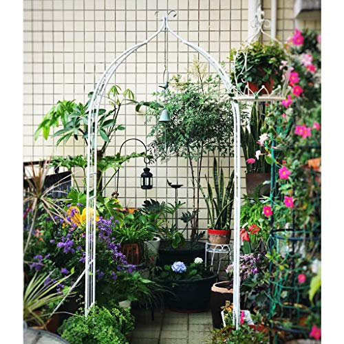 Garden Rose Arch, Climbing Plants Metal Trellis, Support Archway Roses, garden arbour, tall 2m (Black, White)