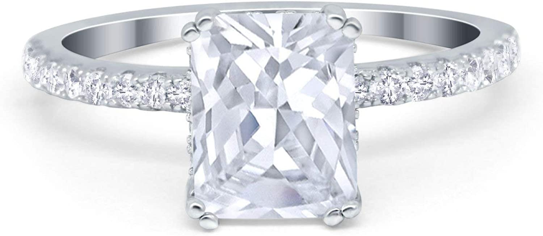 Tucson Mall Blue Apple Co. Ultra-Cheap Deals Art Deco Radiant Cut Engagement Roun Wedding Ring