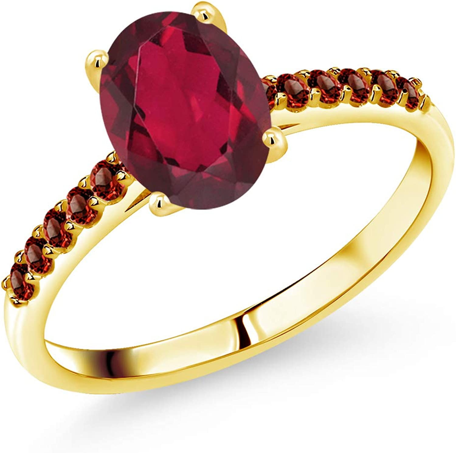 Gem Stone King Limited time trial price 2021new shipping free shipping 10K Yellow Gold Mystic and Topaz W Garnet Red