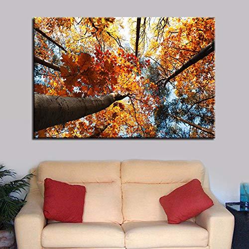 zzlfn3lv Lona Sala de Estar Imagen sin Marco póster decoración del hogar 1 Panel otoño Madera Paisaje HD impresión Pintura Moderna Pared Arte Modular 1 50x75cmx1pcs