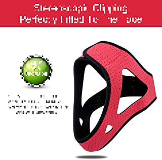 Red Triangle Stop Snoring Chin Strap with Adjustable Headband for Men Women
