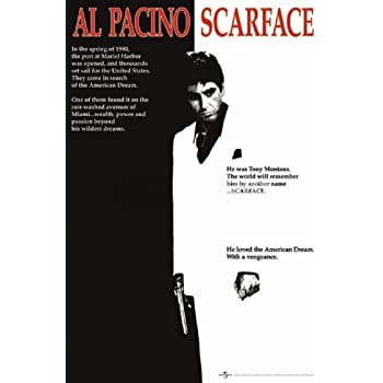Scarface Movie (Al Pacino, Black and White) Poster Print - 24x36 Collections Poster Print, 24x36 Poster Print, 24x36