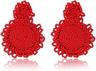 Beaded Tassel Earrings for Women-Bohemian Handmade Beaded Round Earrings for Girls,Mom,Sister and Friends
