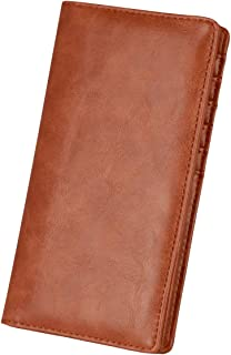 Saranama Long wallets for Men, RFID Blocking Checkbook Leather Wallet