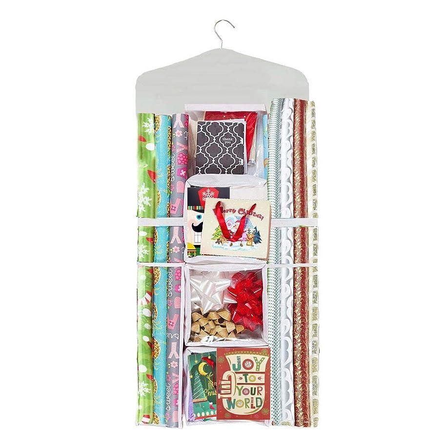 Lazan Gift Wrap Storage Hanger Organizer Double Sided Wrap Paper Holder (Beige, 01)