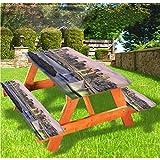 LEWIS FRANKLIN - Mantel ajustable para mesa de picnic y banco, diseño de puente de Tokio Japón con borde elástico, 28 x 72 pulgadas, juego de 3 piezas para mesa plegable