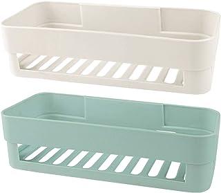 Lovey 2 Pcs Self Adhesive Bathroom Shelf, Wall Mounted Storage Organizer, No Drilling Shower Caddy, Kitchen Storage Baske...