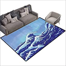 Dining Table Rugs The Great Waves of Kanagawa,Big Tsunami Ocean Decor with Blue Sky 80
