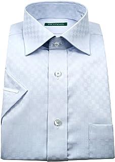 ミラモーダ(MILA MODA)形態安定・スリムフィット・ブルードビーチェック・ワイドカラードレスシャツ・半袖 gan622-250
