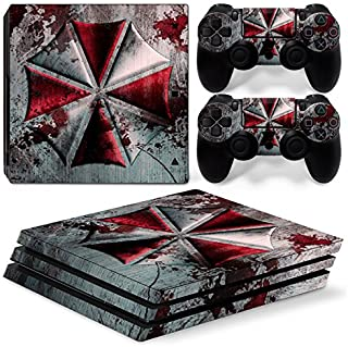 ZOOMHITSKINS PS4 Pro Console and Controller Skins, War Umbrella Red Black Silver Grey Metal Stain Water Blood, High Qualit...