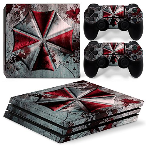 ZOOMHITSKINS PS4 Pro Console and Controller Skins, War Umbrella Red Black Silver Grey Metal Stain Water Blood, High Quality, Durable, Bubble-free, 1 Console Skin 2 Controller Skins, Made in USA