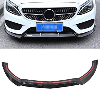 GZYF ABS Auto Front Bumper Lip Cover Trim Décor Compatible with 2015-2018 Mercedes Benz C-Class W205 Sport DP Style, Glossy Black