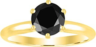 1/2-10 Carat Total Weight Round 14K Yellow Gold Round Black Diamond Ring (AAA Quality)