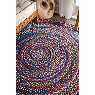 nuLOOM Hand Braided Bohemian Colorful Cotton Round Rug, Blue, 6'