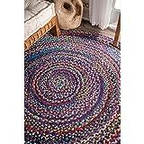 nuLOOM Tammara Hand Braided Round Rug, 6' Round, Blue