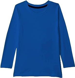 American-Elm Royal Blue Full Sleeve Cotton Round Neck Tshirt for Boys | Plain Cotton Tshirt for Boys
