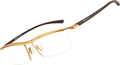 Bertha Men Semi-Rimless Eyeglasses,Pure Titanium Eyewear Ultra Lightweight Business Prescription Optical Frame 8189