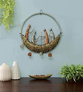 CraftVatika Metal Iron Painted Round Boat Wall Art Sculpture and Hanging Decor for Living Room and Office (Multicolour)
