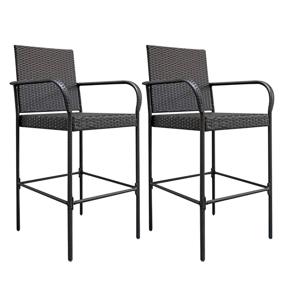 HWJ Bar Stool Set of 2 Rattan Wicker Outdoor Backyard Chair Patio Furniture Chair with Armrest and Footrest for Garden Pool Lawn Backyard Study Steel Frame Bar Chairs Furniture, Brown