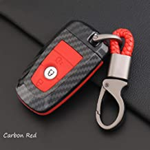 ontto Carbon Fiber Texture Smart Key Cover Case Key Shell Remote Key Box Key Chain Key Ring Prevent Scratch and Falling Fit for Ford Mondeo Edge Ecosport (Red)