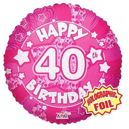 Suki Gifts S9019431 Ballon d'anniversaire 40 ans Holographique Rose