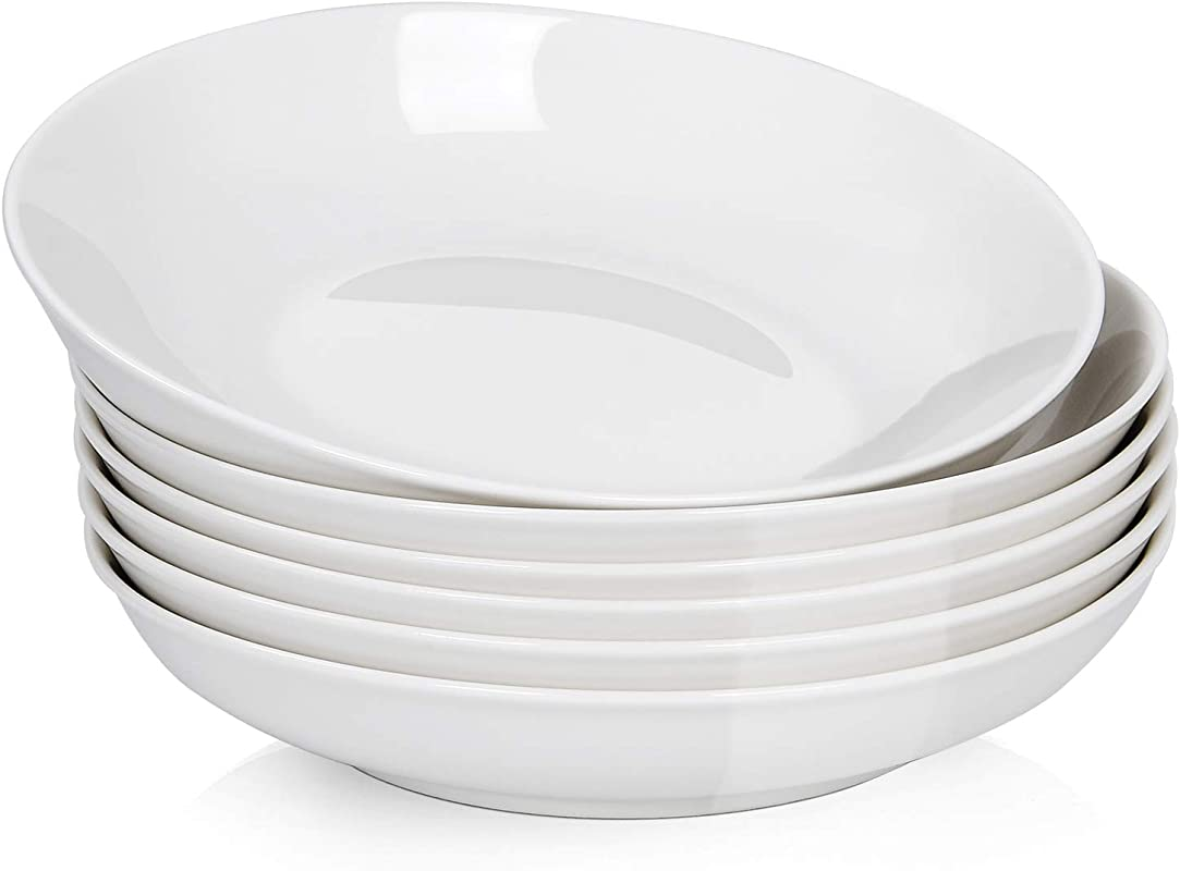 22 Oz Porcelain Salad Pasta Bowls Wide And Shallow Ceramic Bowl Set For Salads Pasta Dessert Set Of 6 White