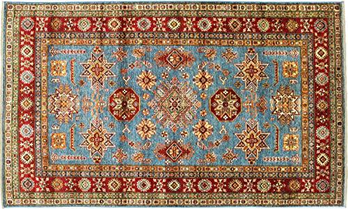 Teppichprinz Alfombra oriental afgana Kazak fina, 224 x 150 cm, tejida a...