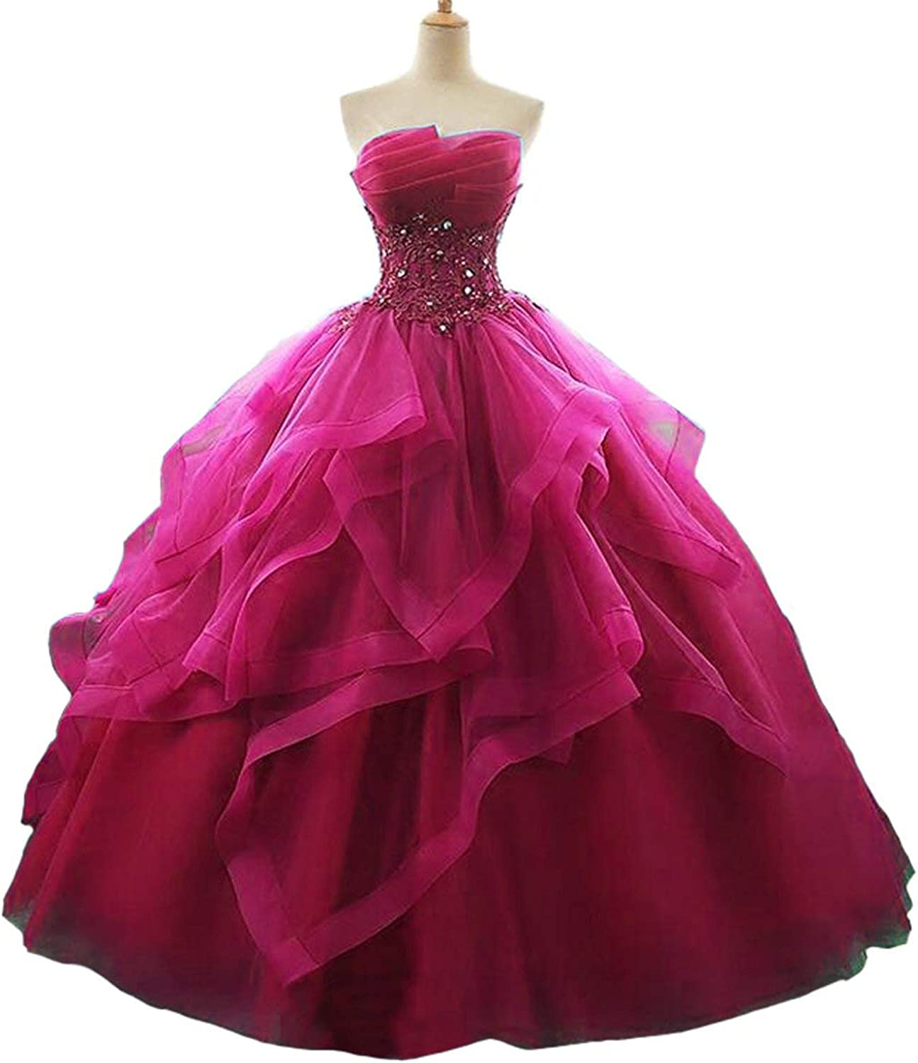 EileenDor Women's High Low Ruffles Quinceanera Dresses Ball Gown Strapless Lace Beaded Prom Dress Princess Gowns