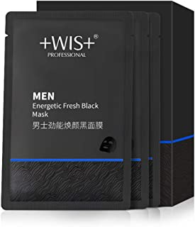 WIS Hydrating Face Mask Sheet for Men Anti Aging with Beard Mask, Deep Cleaning Skin, Anti Acne for All Skin Type Black Fa...