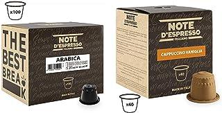 Note d'Espresso - Lot de 100 capsules de café Arabica exclusivement, 100x5,6g & Lot de 40 capsules de cappuccino instan...