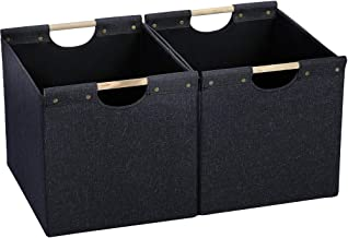 HOONEX Large Collapsible Storage Bins, Linen Fabric, 2 Pack, Storage Baskets with Wooden Carry Handles and Sturdy Heavy Ca...