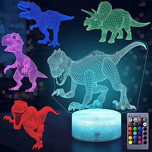 otutun Luz de Nocturna Dinosaurio 3D , Lámpara de ilusión 3D con 16 Cambio de Color y Mando a Distancia,Toque Regulable Cabecera Luz de Noche para Dormitorio Decoración Regalo de Cumpleaños pa