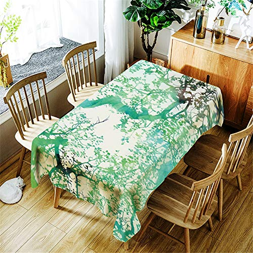 XXDD Green Cactus Natural Scenery Printing Waterproof Tablecloth Washable Dustproof Rectangular Tablecloth A12 140x160cm