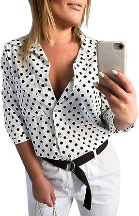 Mujer Camisa de Lunares Blusa Cuello V Camiseta Túnica Color ...