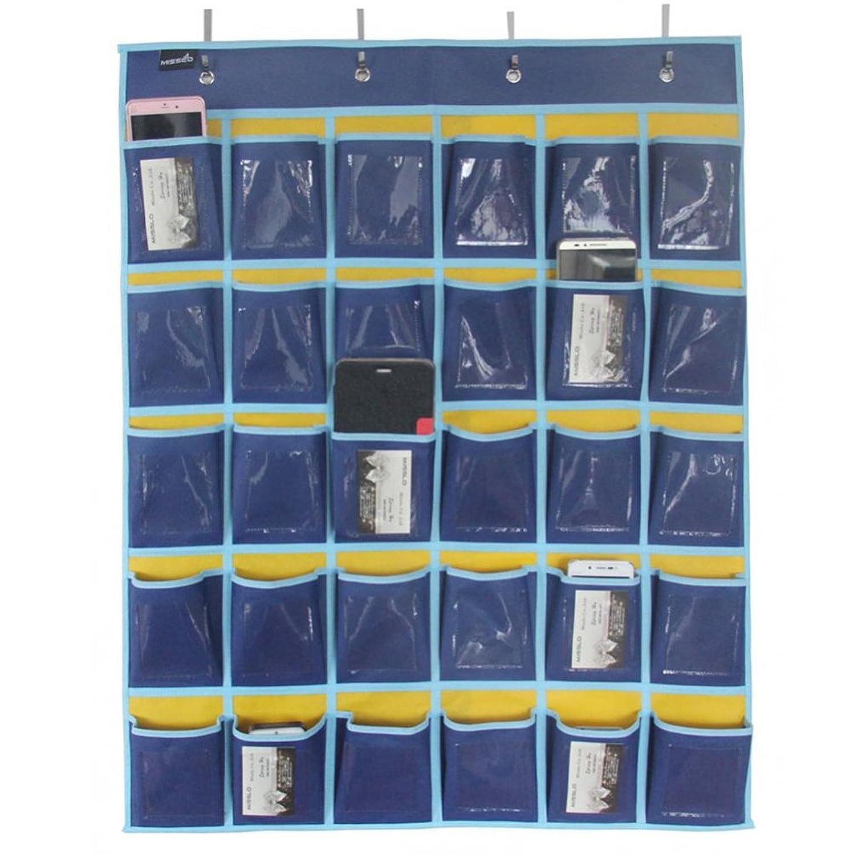 ドキドキスキル小康ウォールポケット 携帯電話 名刺 吊り 収納袋 収納ホルダー オーガナイザー ポケット 青