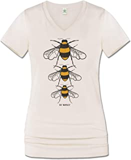 Soul Flower Women`s Bee Yourself Organic Cotton Recycled Short Sleeve T-Shirt, Ladies Long V-Neck Graphic Tee Top