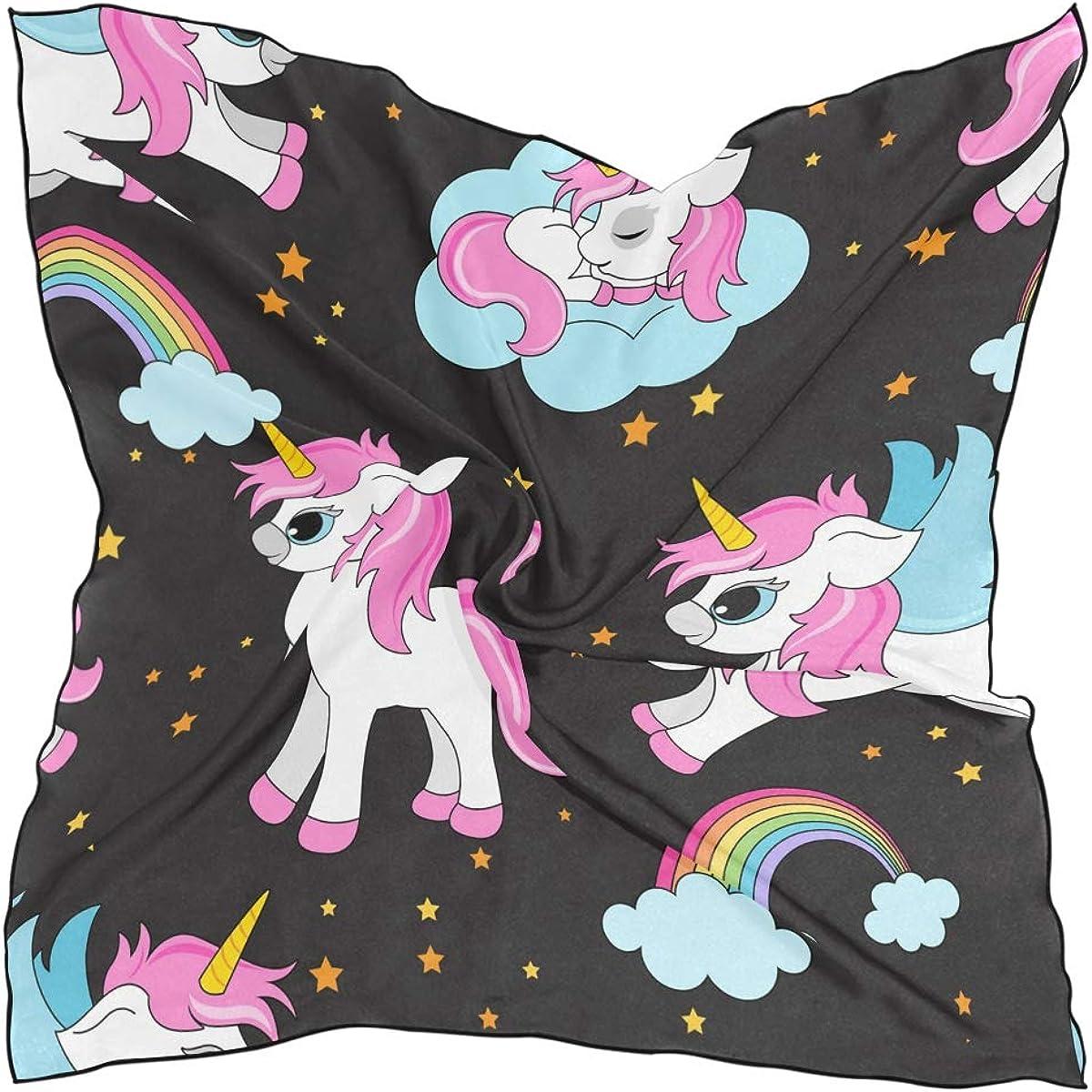 XLING Fashion Square Scarf Cute Galaxy Animal Unicorn Rainbow Lightweight Sunscreen Scarves Muffler Hair Wrap Headscarf Neckerchief for Women Men