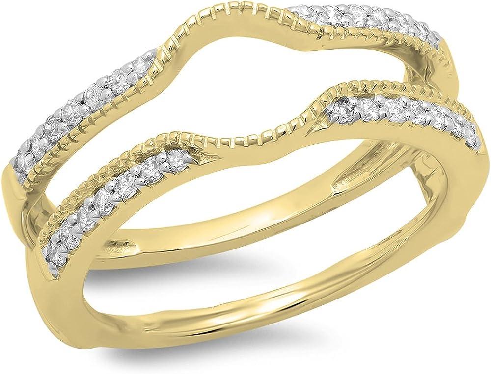Dazzlingrock Collection 0.25 Carat (ctw) 14K Gold Round Cut Diamond Ladies Anniversary Wedding Enhancer Guard Double Ring 1/4 CT