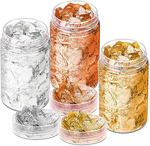 3 Botellas Lámina Oro Copas Dorado, Plata, Cobre Metálico, Hojas Oro, Hojas Dorado, Lámina Oro Metálico Para Dorado, Pintura, Arte, Manualidades, Clavos Y Decoración De DIYS, 20 G