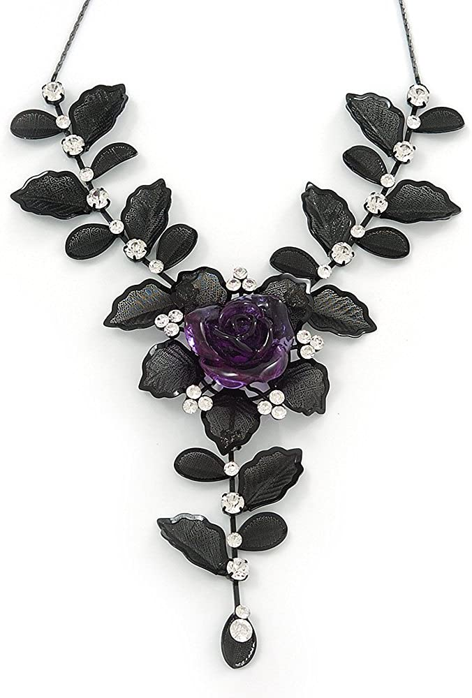 Avalaya Stunning Y-Shape Mesh Black Floral Necklace with Clear Swarovski Crystals - 34cm Length (7cm Extension)
