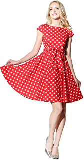 Cap Sleeves 100% Cotton Polka Dot Floral 50s Vintage Rockabilly Swing Dress