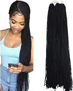 Mayloss Long Micro 3X Pre-Looped Synthetic Zizi Braids 10 Packs/Lot 28 Inch 50g/Pack 1B Color Thin Small Box Braid Crochet Twisted Hair Synthetic Kanekalon Braiding Hair Extension