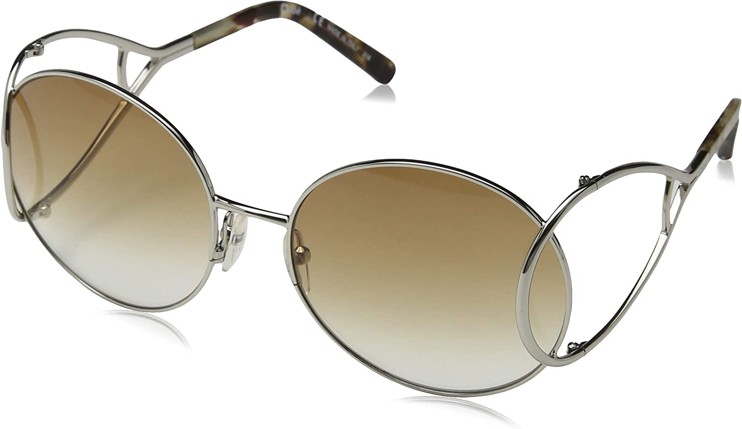 Chloe Jackson Round Racket Temple Sunglasses in Silver Brown Marble CE124 S 043 60 60 Brown Gradient
