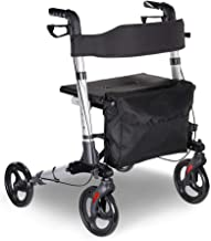 AW Foldable Lightweight Rollator Mobility Walker Aid 4 Wheels Medical Rolling Walker Portable Stand Up Sit-Down Support fo...