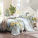 MeMoreCool New Arrival! Spring and Summer Rustic Pastoral Style 4 Pieces Bedding Set 100% Tencel Elegant Design Duvet Covers Soft Bed Sheets Queen Size